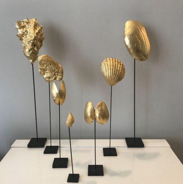 Coquillages dorés à la feuille d'or 22 cts
